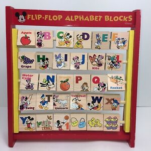 Disney Mickey Mouse And Friends Flip Flop Alphabet Blocks Wooden Learning Toy