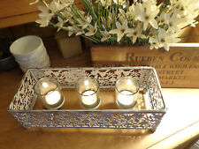 CANDLE HOLDER SHABBY CHIC DECORATIVE PAINTED METAL CREAM & GREY holds 3 candles