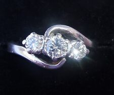 18ct White Gold 0.60ct Diamond 3 Stone Ring, Size J