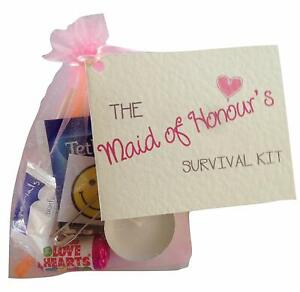 Maid of Honour Gift. Novelty Survival Kit. Thank you gift & card keepsake.
