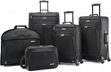 American Tourister 5 Piece Soft Luggage Set Travel Rolling BLACK Suitcase