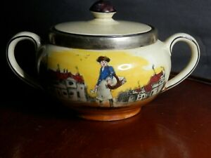 RARE A.J.WILKINSON LIDDED POT WITH SIGNED ARTWORK