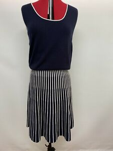 NWT - Liz Jordan Navy Knitted Fit and Flare Dress Size 14