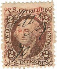 1862-71 US Internal Rev 2C Washington Fancy Pen Cancel Stamp Lt. Double Transfer