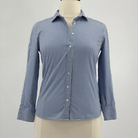 J. Crew Blouse NWOT Blue & White Striped Long Sleeve Button Up Top Size Large