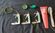 1960's Girl Scouts of America 3 pocket knives, compass, whistle knife/fork/spoon