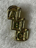 "Vintage Pin Brooch Gold Tone ABC Blocks Baby Maternity  1"" Tie Tac New Mom Dad"