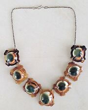 * Antique Vintage South Sea Operculum Seashell Carved Tortoise Shell Necklace