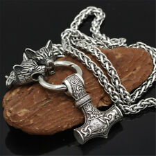 Men's Fashion Silver Norse Viking Wolf&Thor Hammer Mjolnir Pendant Necklace Gift