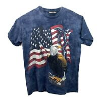 The Mountain Men's Large T Shirt American Flag USA with Bald Eagle Lightning