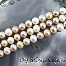 "9x11mm Multi-Color Freshwater Pearl Round Loose Beads 15"" (PE191)b FREE SHIPPING"