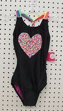 Xhilaration Girl's Colorful Sequin Heart 1 Piece Swimsuit (Size XS/TP 4-5)