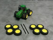 1/64 Farm custom scratch 20.8 R46  4WD tractor tire kit yellow rims + axels