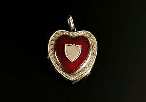 Vintage Art Deco 9ct gold heart locket, pendabt