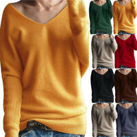 Latest Womens Winter V Neck Sweater Casual Pullover Knitted Jumper Blouse Tops 8