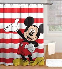 Disney Mickey Mouse Waving Hand Fabric Shower Curtain Red White Stripes Bath