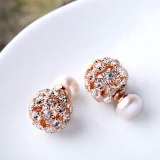 Pendiente`Orejas Doble perla cultivada Blanco Plano, liso 8-9mm Cristal Dorado