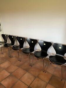6 Original Arne Jacobsen Stühle Modell 3107 Fritz Hansen - schwarz