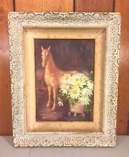 Vintage Marian Wurtzel Oil on Panel Horse and Daisies 1942 Framed
