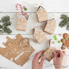 FILL YOUR OWN ADVENT CALENDAR BOXES-GINGERBREAD HOUSES-Rustic/Vintage Style Xmas