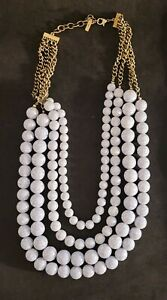 """Sugarfix Chunky Multi Strand Gray Marbled Bead Statement Necklace 26"""" - 28"""""""