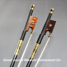 2 pcs New light carbon fiber 4/4 violin bow white horse hair bow snake wood frog