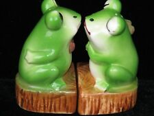 Vintage Boy and Girl Kissing Frogs Salt and Pepper Shaker Set Japan
