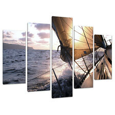 Set of 5 Blue Wall Pictures Split Canvas Art Print Yachts Sailing 5096