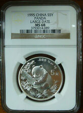 1995 1/2oz large date silver panda coin NGC MS68