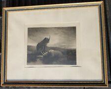 """""""Black Rhino"""" Robert W Kane African Rhinoceros etching Circa 1935"""