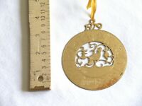 1979 Vtg Gold Toned Partridge In A Pear Tree 12 Days of Christmas Ornament 3.3""