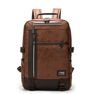 2021 New Mens Leather School Backpack Laptop Notebook Travel Bag BR