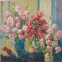"""RAIMONDAS KUCINAS ORIGINAL OIL PAINTING """"Midday Roses""""  24x24 inch"""