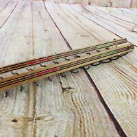 "vtg small hook rack fold back flat farmhouse decor 18""W wood & metal hooks"