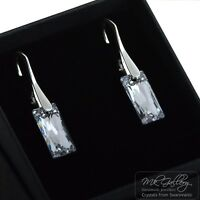925 Sterling Silver Earrings 13.5mm Queen Baguette Crystals from Swarovski®