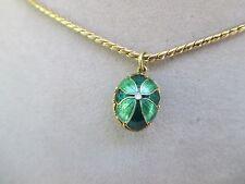 "Vintage Green Enamel Flower& GoldTone Egg PendantOn24"" Long Chain Necklace"