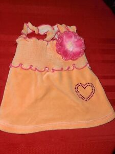 SMOOCHIE POOCH ♡ ORANGE VELVET WITH PINK  DRESS ♡ SIZE SMALL ♡ SO CUTE