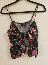 Sexy Little Love Culture Black and floral Cover Shirt Top Cami Tanktop