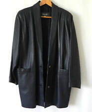 Bally Soft Leather Coat/Jacket Navy Blue 2 Button Pockets Size 10
