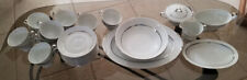 Arlen Silver Plated Trim Dishware, Dinnerware, Serving Sets & Dishes, 34 Pieces