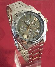 Men's Large SEIKO Chronograph 6T63-00E0 Date Quartz Stainless Steel Men's Watch