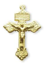 """MRT Gold Over Sterling Silver Pardon Crucifix 1-1/2"""" L on 24"""" Chain Gift Boxed"""