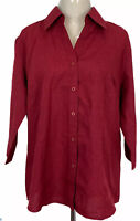 Biz Collection Womens Red Long Sleeve Button Up Corporate Shirt Size 12