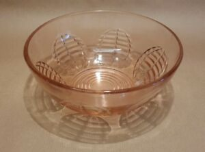 "Vintage Deco Glass Bowl Circular Balloon Decor Peach Pink Trifle Fruit 7"" 50's"