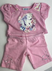 Girls Build a Bear Pink Outfit Polar Bear Flowers Pants Rhinestones