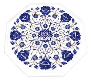 Marble Top Table for Kitchen Gems Lapis Lazuli Floral Mosaic Inlaid Decor H1377