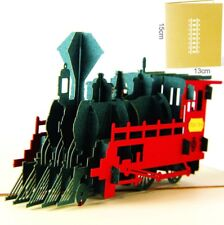 3D Pop Up Card Steam Train Vintage Gift Creative New Hot Baby Greeting Cards