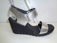 Ecco Size 9 to 9.5 FREJA Silver Metallic Leather Wedge Sandals New Womens Shoes