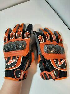 AlpineStars Small SMX AC  Fiber Leather Gloves Mens Orange Black
