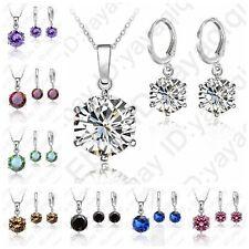 Hot Sale Cubic Zircon Wedding Pendant Necklace Huggie Hoop Earrings Jewelry Sets